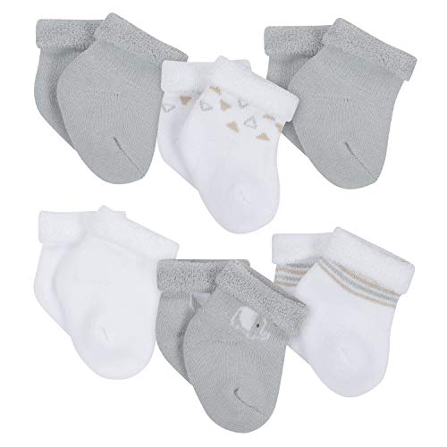 Gerber Baby 6-Pair Wiggle Proof Sock, Elephant, 3-6 Months