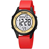 Students Simple Digital Watch 100M Waterproof with Silicone Strap Stopwatch Alarm Countdown Dual Time, Ultra-Thin Super Wide-Angle Display Digital Wrist Watches for Men Women (Black Red)
