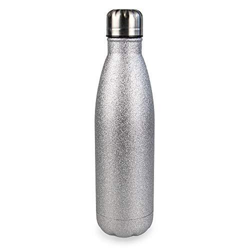 Myga 500ml Metaal Herbruikbare Geïsoleerde Vacuüm Roestvrij Staal Water Fles - Dubbelwandige Leak Proof BPA-vrije Drankjes Flesfles voor Outdoor Sport - Houdt warme en koude dranken - Zilver Glitter