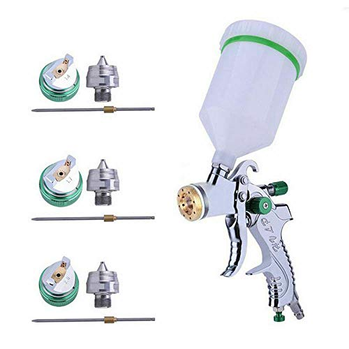 MASO HVLP Air Spray Gun Set with 3 Nozzle and 600cc Cups on Top 1.4mm 1.7mm 2.0mm for Paint,Car Primer,Topcoat,Touch-Up