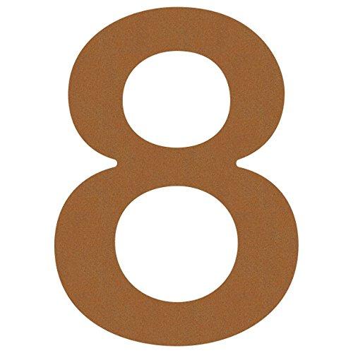 Hausnummer 8, Design Hausnummer aus Edelstahl in Rost