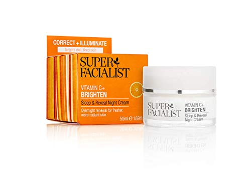 Super Facialist Vitamin C Sleep and Reveal Night Cream 50ml Overnight Renewal for Fresher, More Radiant Skin. Provides Moisture and Vitality, Leaving Skin Smoother with a Healthy Glow