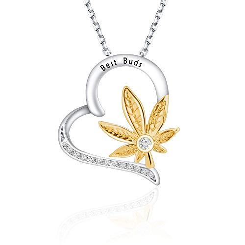 KUIYAI Best Buds Necklace Marijuana Weed Leaf Necklace Cannabis Jewelry (Best Buds NS)