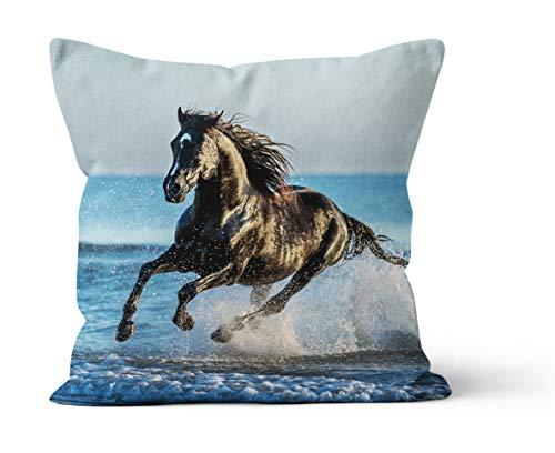 VertriebsArena GmbH Kissen Dekokissen Wassergalopp Pferd im Wasser in 40 x 40 cm, 4020286