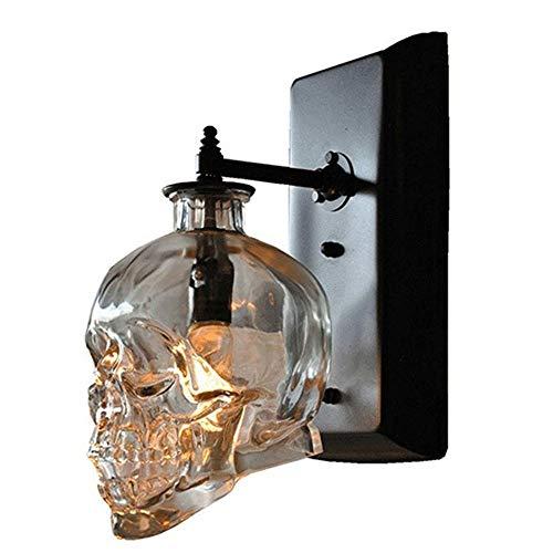 Lámpara de Pared de Calavera Lámpara de Pared de Cristal de Calavera Retro Lámpara de Pared Bar Restaurante Café Internet Cafe Decoración Luz, Soporte de lámpara E14 * 1