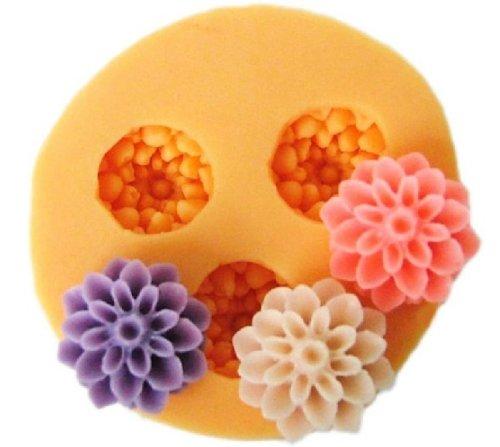 Molde de Repostería en Silicona para Hacer Flores de Fondant y Pasta de Goma - 3 Huecos de 1.5 cm - Marca Allforhome