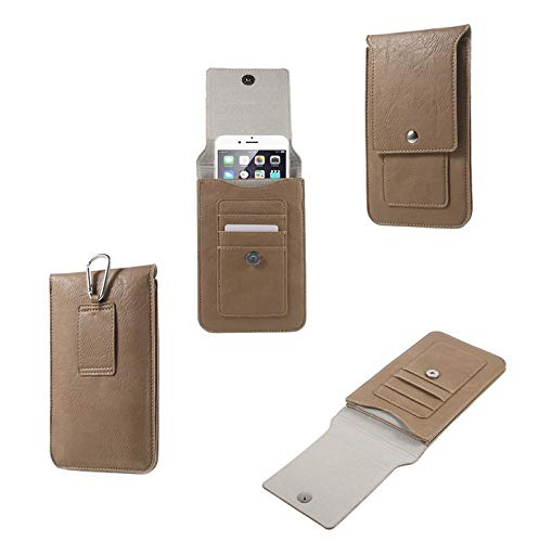 DFV mobile - Belt Case Cover Premium Synthetic Leather Vertical And Card Slots for LG Q Note+ (2018) - Beige