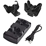 Kailisen Playstation 3 Controller Charging Dock Charging Station 2 in 1 with LED Light Indicator Compatible for Playstation PS3/MOVE Controller, Black