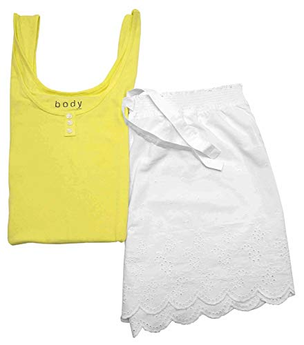TCM Tchibo Damen Shorty Set Pyjama Schlafanzug Gelb-weiß (40/42 M)