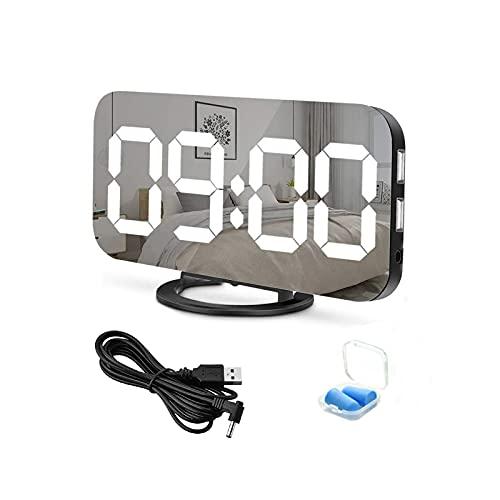 Sveglia Digitale LED, Sveglia Elettronica, Display LED da 6,5 , con Funzione di Snooze Luminosità Regolabile Superficie a specchio, 2 porte di ricarica USB per la decorazione del Soggiorno