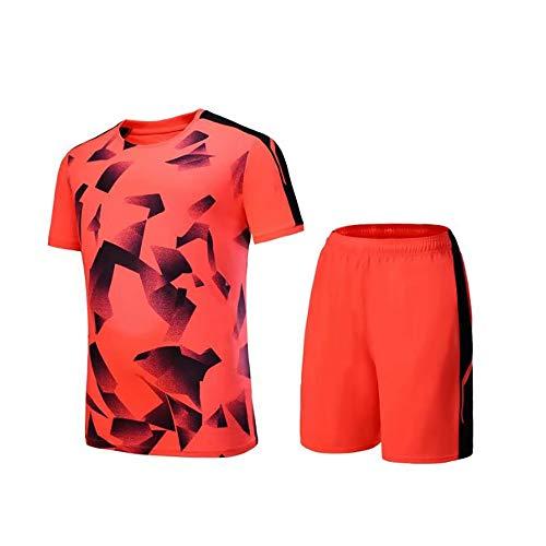 SCBJB Männer Fußball T-Shirt Trikot Lauftraining Anzug Kleidung Frauen Student Sport Tops + Shorts Jungen Mädchen Fitness Schule Wettbewerb-orange-S