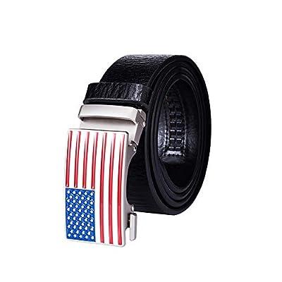 "Mens Ratchet Belts with Sliding Buckle, CHIVENIDO Mens Leather Click Ratchet Belt Buckles 1 3/8"" - Adjustable Trim to Fit"