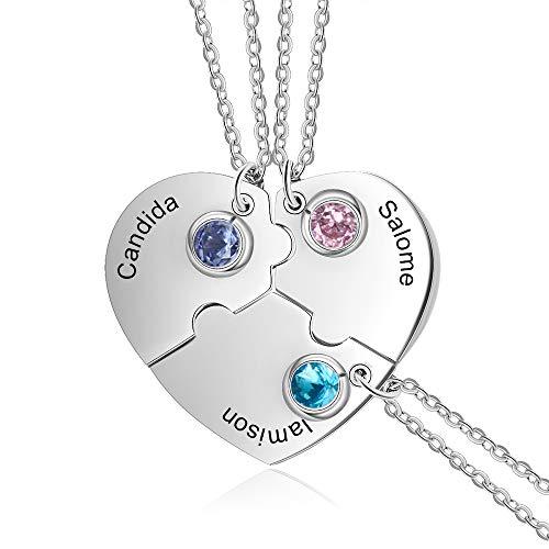 XiXi Personalizado Collar Amistad para 3 Corazón Colgante con Piedra del Zodíaco Acero Inoxidable Personalizable Collar para Amiga Mujeres Regalo para Aniversario San Valentín Navidad