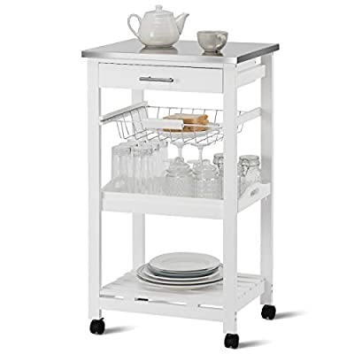 Giantex Kitchen Island Cart Rolling Kitchen Trolley with Stainless Steel Tabletop Utility Storage Cart Restaurant Hotel Serving Cart with Casters, Drawer, Basket, Removable Dining and Shelf by Giantex