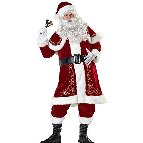 New_Soul Costume Père Noël Adulte Déguisement Noel Homme en Peluche Cosplay Santa Set Complet avec Barbe (Taille -M)