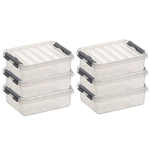 6x SUNWARE Q-Line Box - 1 Liter - 200 x 150 x 60mm - transparent/silber