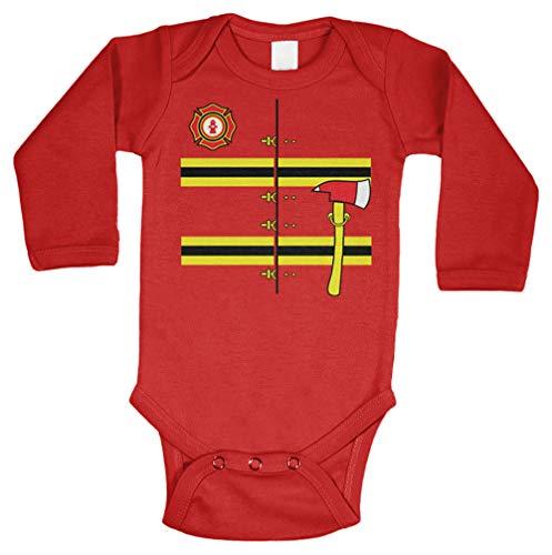 Firefighter Costume - Hero Fireman Long Sleeve Bodysuit (Red, 12 Months)