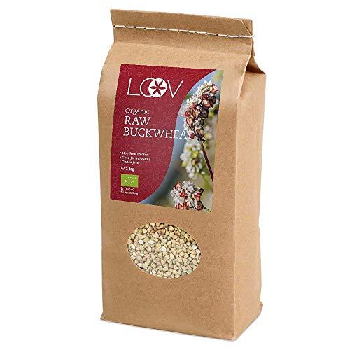 LOOV Bio Buchweizengrütze glutenfrei, 1 kg, roh, nicht wärmebehandelt, alle Nährstoffe konserviert, köstlich nussiger Geschmack, gut zum Keimen, Bio-Anbau im nordischen Klima, ohne Gentechnik