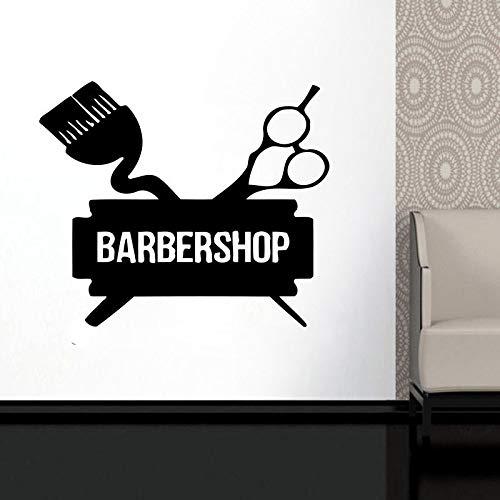 Calcomanía personalizada para ventana de peluquería, pegatinas de vinilo Hipster para hombre, salón de belleza, salón de belleza, Mural A3 63X57CM