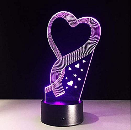 LED 3D Night Light Valentine Heart Led Multicolor RGB Bedroom Decor Lamp for Toys Lamp Drop Ship Amazon Birthday and Holidayfor Children