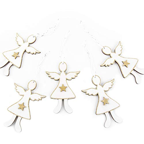 Logboek-uitgeverij hout engel wit met gouden ster engelhanger 12 cm kerstdecoratie kerstboomversiering decoratie kerstmis raam deur houten gel