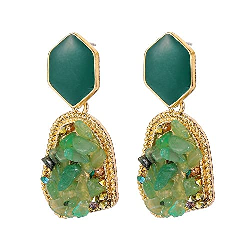 GGSDDU Pendientes de piedra triturada de moda para mujer, pendientes colgantes geométricos retro irregulares, azul