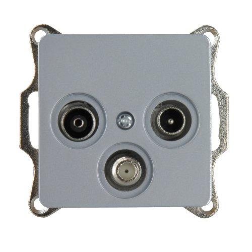 UNITEC 42075L SAT/Antennensteckdose, Genua, Silber