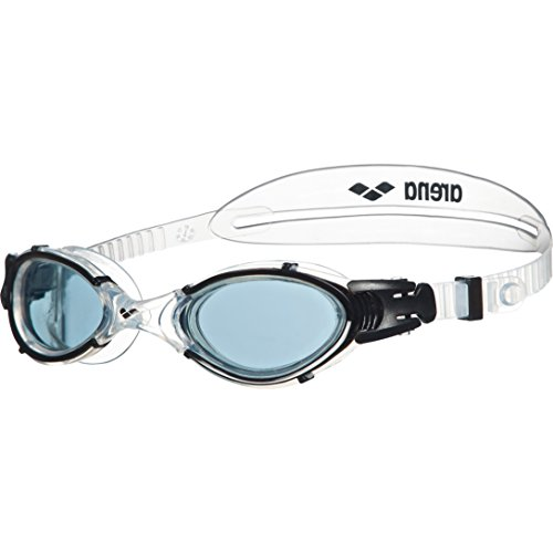 arena Unisex Training Freizeit Schwimmbrille Nimesis Crystal Medium (UV-Schutz, Anti-Fog Beschichtung), Smoke-Clear-Black (55), One Size