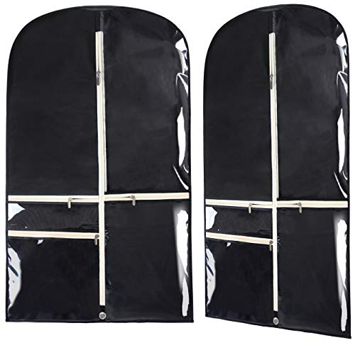 KIMBORA Costume Dance Garment Bag with 3 Clear Zipper Pockets for Suits Dress Cover, Travel Storage & Competitions, Set of 2 (Black)