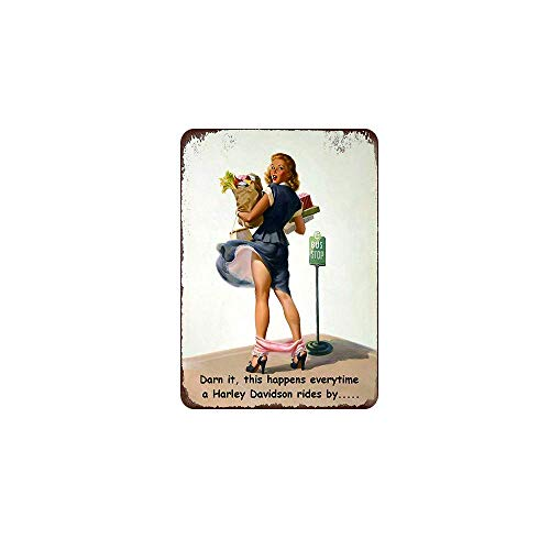 Retro Metal Tin Sign Vintage Darn it,This Happens Everytime a Harley Davidson Rides by. Aluminum Sign for Home Coffee Wall Decor 8x12 Inch