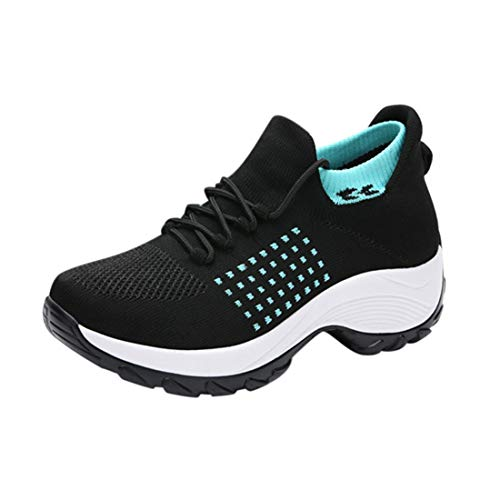 Puimentiua Damen Casual Sneakers Canvas Schuhe Damen Flache Schuhe Mädchen Low-Cut Sporttrainer Leichte Schuhe(Schwarz hellblau,40)