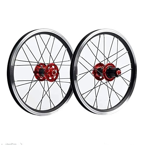 VTDOUQ BMX Juego de Ruedas de Bicicleta de 16 Pulgadas 24 radios Bicicleta Plegable Rueda Delantera y Trasera Freno de llanta Cubo de Fibra de Carbono 7/8/9/10/11 Cassette de Velocidad Volante 1210g