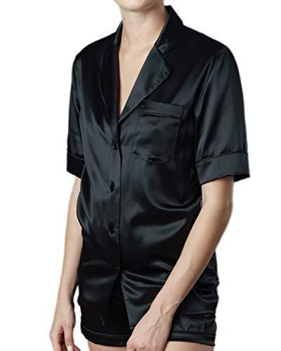 Generico Pijama de seda pura 100 % fabricado en Italia Notobotique completo de raso de seda para mujer de manga corta y pantalón corto. Fabricado íntegramente en Italia. Nero Notte (S003) 40