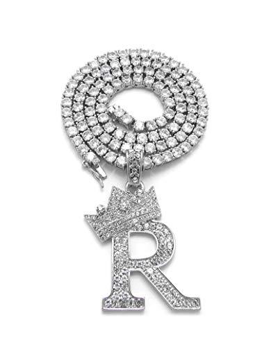 iJewelry2 Kings and Queens - Collar de cadena de tenis con colgante de letra R, color plateado plateado