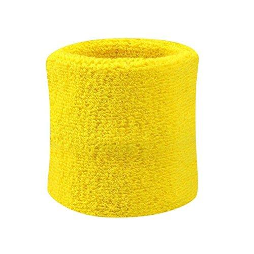 Yuhemii, fascia antisudore per uomini e donne, ideale per sport come tennis, squash, badminton, polsino in spugna antisudore Yellow