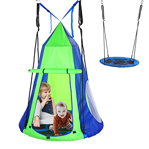 KOKSRY Swings for Kids,Hanging Tree Swing Tent for Kids, Hanging Tree House Tent Waterproof Portable Indoor or Outdoor Use with Tree Straps(Included Tree Protection )