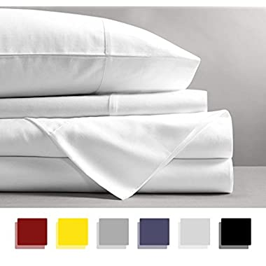 Mayfair Linen 100% EGYPTIAN COTTON Sheets, WHITE KING Sheets Set, 800 THREAD COUNT Long Staple Cotton, SATEEN Weave for Soft and Silky Feel, Fits Mattress upto 18'' DEEP Pocket