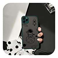 HWOZ for iPhone 12 11Pro 7 XS MAX X XR SE2020 86Plus透明ハードカバーマットファンダス用漫画宇宙飛行士プラネット電話ケース-Style 3-for iPhone X