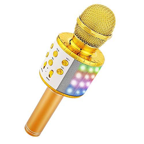 Sooair Microphone sans Fil Karaoké, 4 en 1 Micro Karaoké Bluetooth, Karaoké Adulte/Enfant avec Lumières LED pour Chanter, Fête, Enregistrement, Compatible avec iOS/Android/PC (Or)