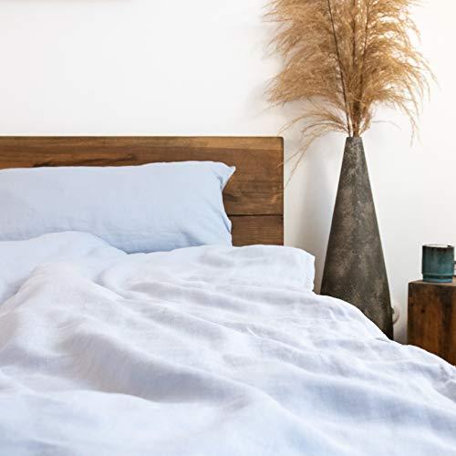 pure shores® Leinen Bettwäsche 135x200 + 80x40 - 100% französische Leinenbettwäsche - wunderbar weich & komfortabel - mit Reißverschluss (Ocean-Blau)