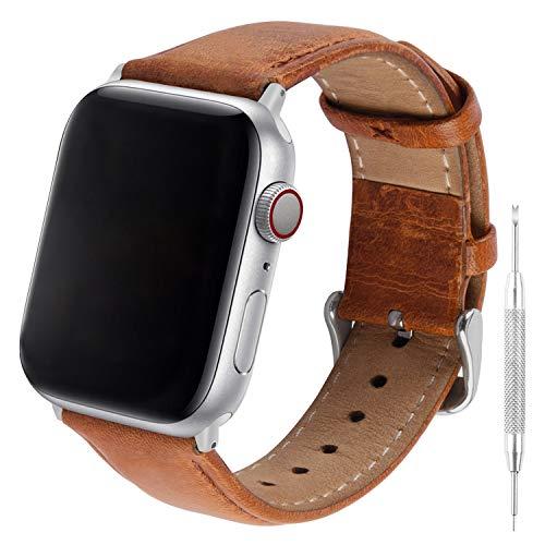 GerbGorb Cinturino Pelle Vintage Compatibile per Apple Watch 38mm 42mm 40mm 44mm, Watch Band in Pelle retrò a Sgancio Rapido per iWatch 5/4/3/2/1