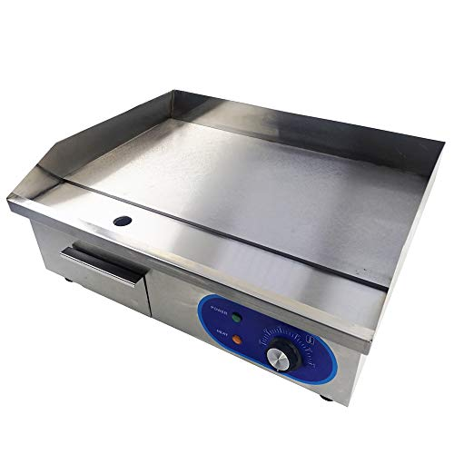 TAIMIKO Commercial Electric Griddle Flat Top Grill HotPlate Kitchen Grill CounterTop Stainless Steel Thermostatic Control 1500W 22'
