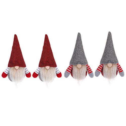 SUCHUANGUANG 4 Piezas/Set Navidad Hecho a Mano gnomo Sueco Santa mueco de Peluche Adornos Colgante rbol de Navidad Juguete decoracin de Fiesta de Navidad Regalo para nios Colgante de Navidad