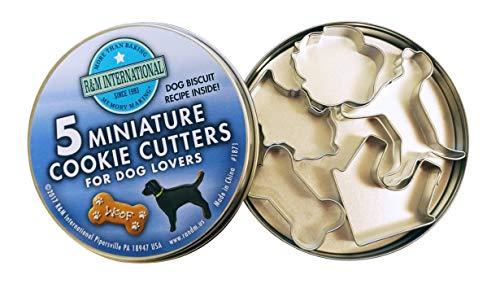 R&M International Mini Dog Cookie Cutters in Storage Tin, Paw, Dog, Fire Hydrant, Bone, House, 5-Piece Set