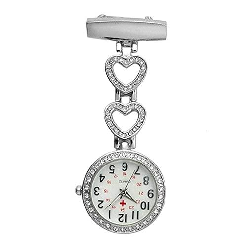 Reloj de bolsillo para mujer colgante de piedra, reloj inglés mesa de enfermera, reloj de bolsillo alfabeto clip mesa-plata estrella
