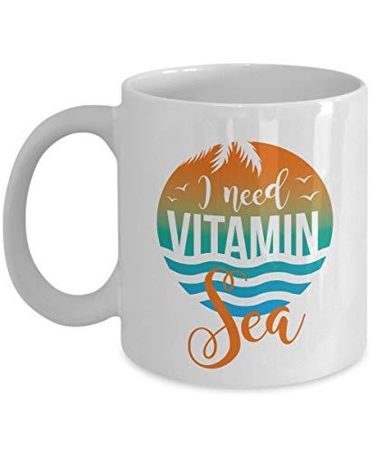 N\A Necesito Vitamina mar Verano temática Playa Cita Arte café y té Taza de Regalo para Amantes de la Playa Hombres y Mujeres