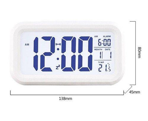 NuoYa 005 Blanco Digital Alarma LED Reloj Luz Control Tiempo Retroiluminación+Calendario Termómetro