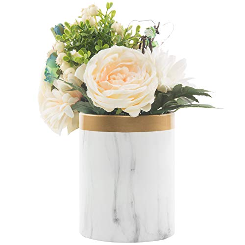 MyGift Marble Pattern Ceramic Flower Vase with Gold Trim