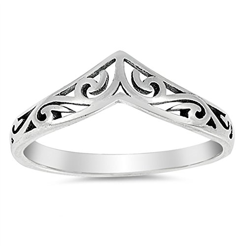Filigree Celtic Chevron Thumb Ring 925 Sterling Silver Victorian Band Size 10