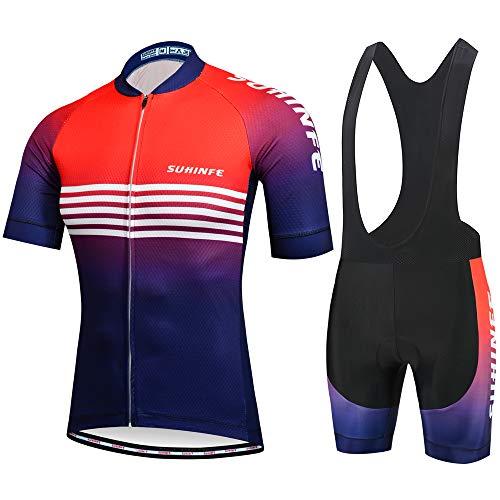 Abbigliamento Ciclismo Uomo Estivo, Maglia Ciclismo Uomo Manica Corta con Pantaloncini con Bretelle, MTB, XL